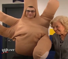 Mae Young and Hand