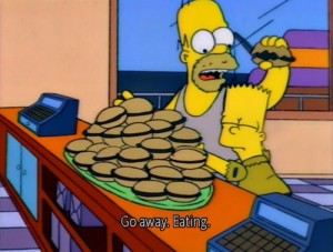 Go away eating Homer Simpson