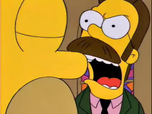 Ned Flanders Screams at Homer Simpson